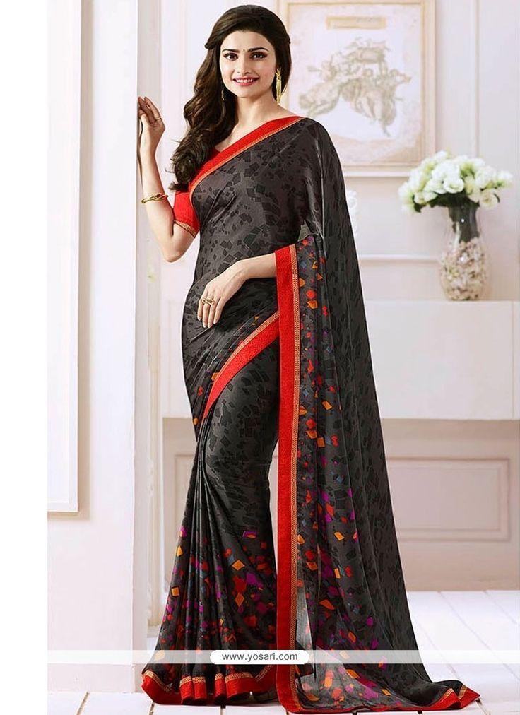 Prachi Desai Black Satin Bollywood Saree Model: YOSAR9663
