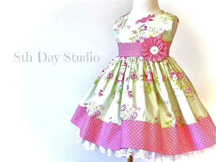 Toddler Easter Dress, Girls Easter Dress, Pink and Mint, Birds and Roses, Church, Wedding, Special Occasions, Sizes 2T - 6 by 8th Day Studio by 8thDayStudio on Etsy