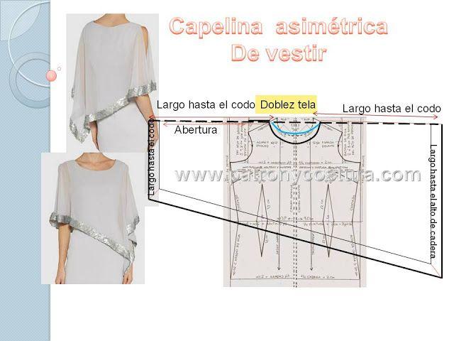 Patrón y costura nos muestra cómo realizar una capelina asimétrica. Complemento ideal para llevar sobre un vestido entallado.               Realizamos el patrón base con nuestras medidas,