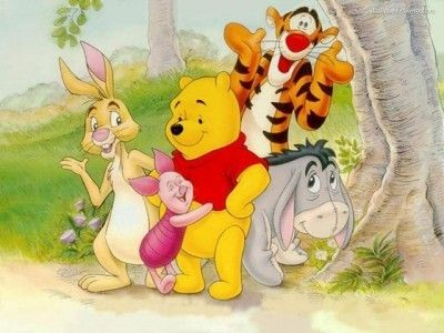 Pooh with some of his friends.