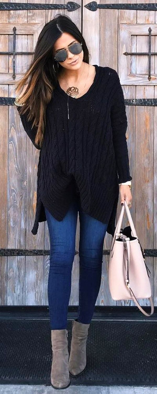 6df445617ce  winter  fashion   Black Knit   Navy Skinny Jeans   Grey Boots   Light Pink  Leather Tote Bag