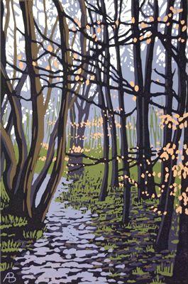 Winter Leaves, Alexandra Buckle, linocut