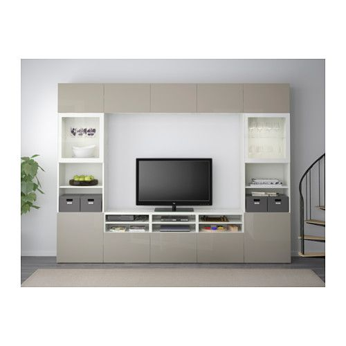 BESTÅ Combinaison rangt TV/vitrines - blanc/Selsviken brillant/beige verre transparent, glissière tiroir, fermeture silence - IKEA