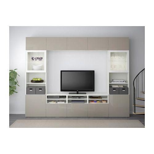 BESTÅ TV storage combination/glass doors - white/Selsviken high-gloss/beige clear glass, drawer runner, soft-closing - IKEA