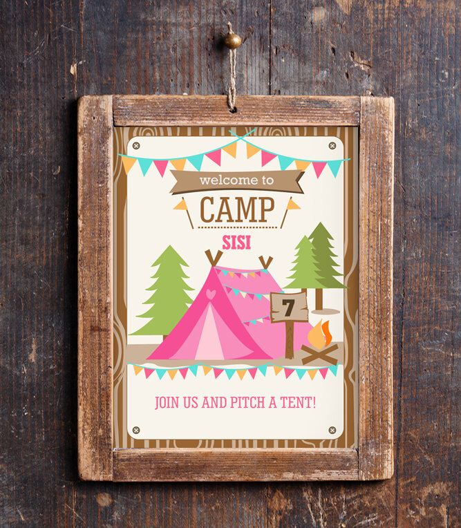Camping Tent Party Door Sign - Camp Out - Glamping Editable - Instant Download - Editable File - Personalize at home with Adobe Reader by SunshineParties on Etsy https://www.etsy.com/listing/198269382/camping-tent-party-door-sign-camp-out