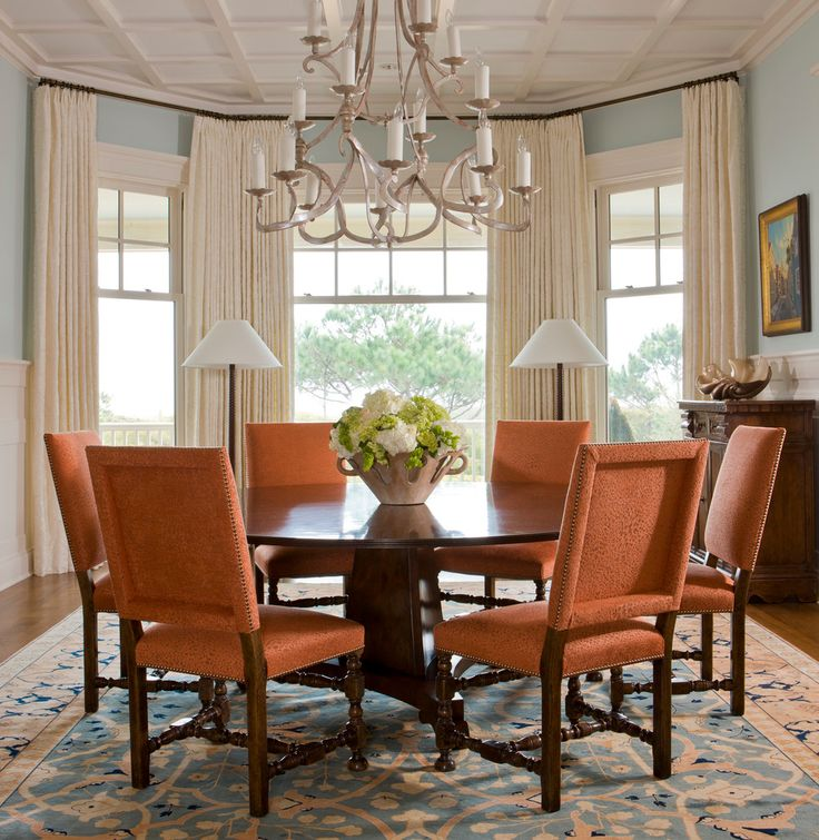 Glorious Curtains For Bay Windows Decorating Ideas Dining Room Traditional Design With Area
