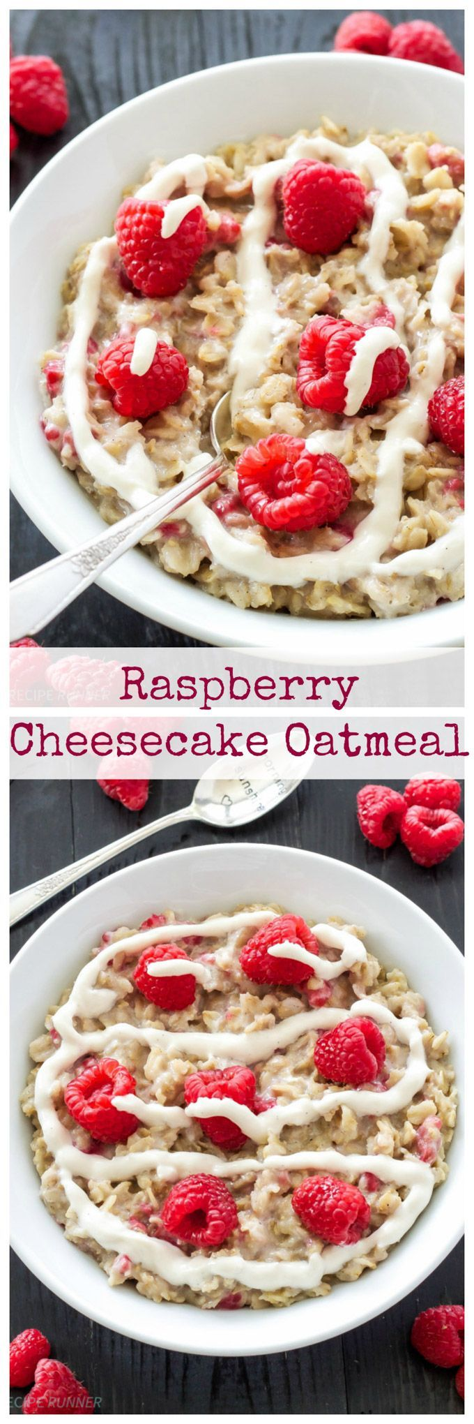 Raspberry Cheesecake Oatmeal   Healthy dessert inspired oatmeal for breakfast without any of the guilt!