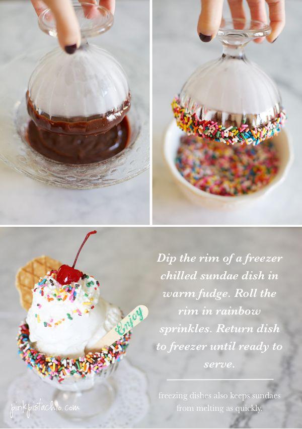 Rim an ice cream dish with sprinkles!