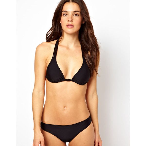 ASOS Macrame Back Triangle Bikini Top (€16) ❤ liked on Polyvore featuring swimwear, bikinis, bikini tops, black, tankini tops, triangle bikini top, halter top, crochet bikini and halter bikini