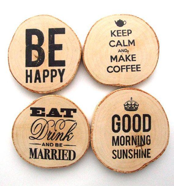 Montagnes uniques en bois rustique bouleau bois sous-verres Bonjour sunshine, Keep calm et faire café, jeu de 4