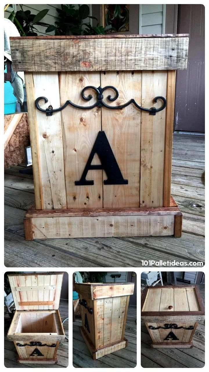 Personalized Pallet Trash Can   101 Pallet Ideas or Wooden Pallet Garbage Can Storage