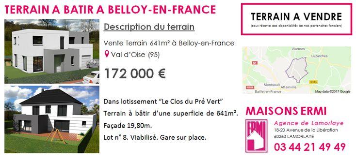#TERRAINSABATIR à Belloy-en-France (95270) Pour en savoir plus contactez directement l'agence Maisons ERMI Lamorlaye au 0344214949
