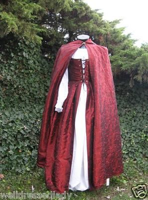 Renaissance Medieval Matching Cloak and Gown Costum Made Dress Costume SK | eBay