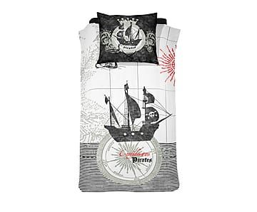 1-persoons dekbedovertrekset Pirate, zwart, 140 x 200/220 cm