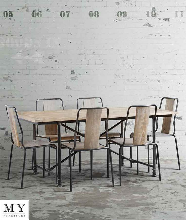 Set industrial dining table & 6 chairs, reclaimed wood and steel - RENOIR