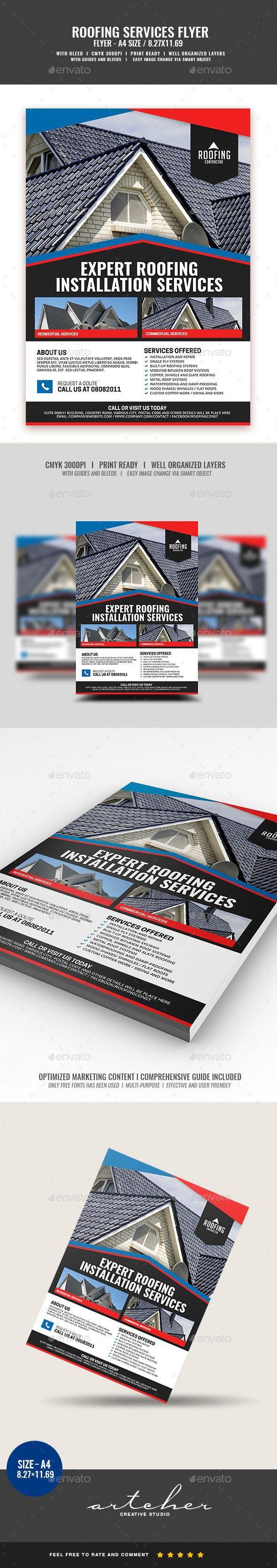 Roofing Contractor Service – Envato #flyer #commerce #business #FlyerTemplate #p…