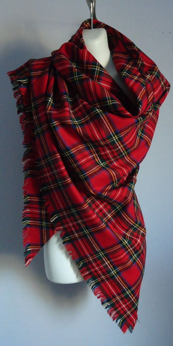 Vintage Ben Nevis Red Plaid Tartan Wool Triangle by MadMakCloset