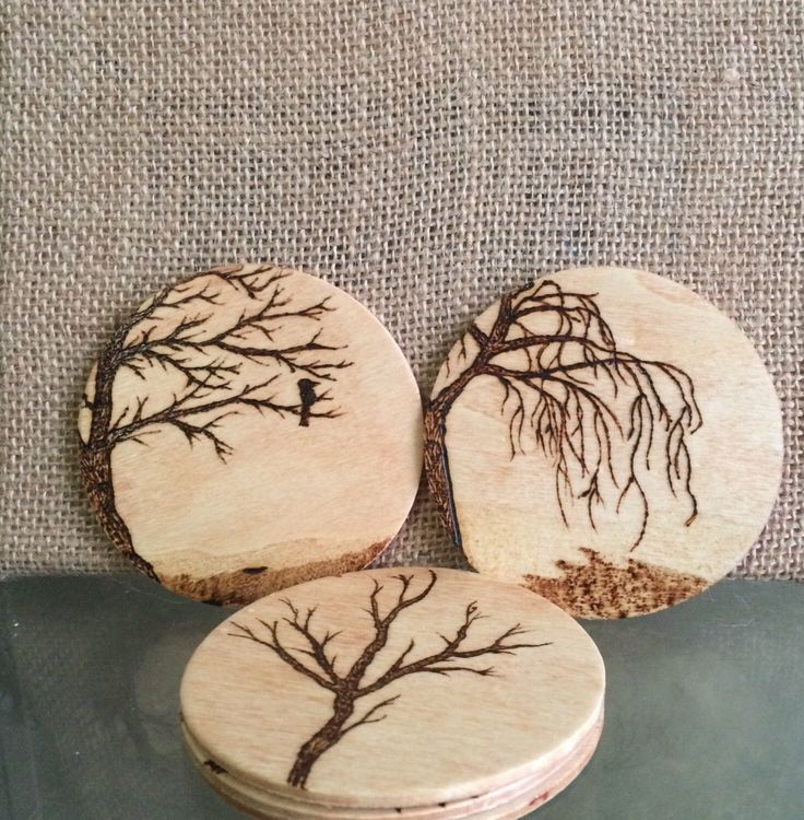 Wood Coasters• Set of 5• Wood Burned• Nature Set by MShelsJewels on Etsy https://www.etsy.com/listing/448732862/wood-coasters-set-of-5-wood-burned