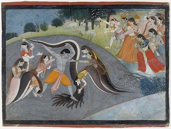 Krishna Subduing Kaliya, the Snake Demon: Folio from a Bhagavata Purana Series
