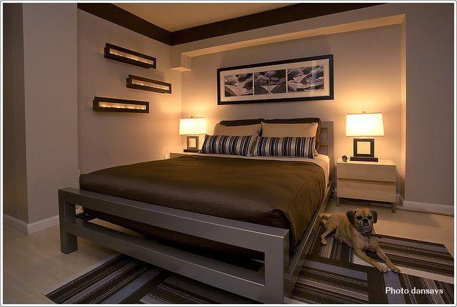ヘッドボード上がオシャレでモダンな寝室|寝室のインテリアコーディネート