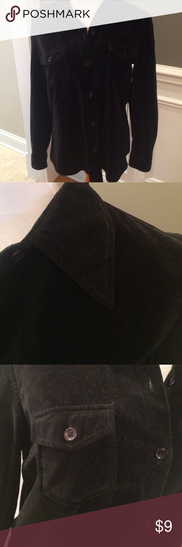Gap top Black gap button-down shirt, has velvet like texture. In very good condition. Smoke and pet free home. GAP Tops Button Down Shirts