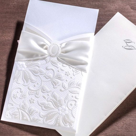 50 White Bow Embossed Wedding Invitations with #DIYWedding #MakeYourWeddingYours #SaveTheDate