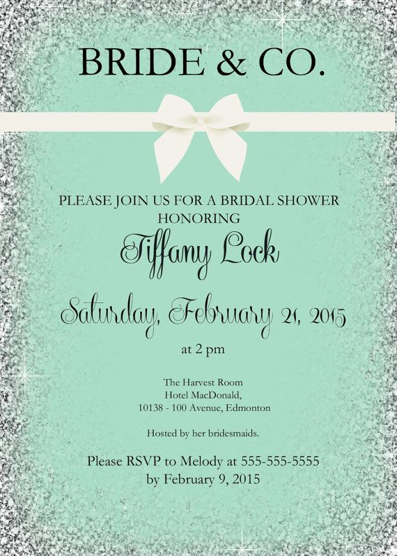 Check out this adorable PRINTABLE Bride and Co. bridal shower invitation with silver glitter. Would be good for a bachelorette invite as well! Double click image to view listing. #brideandco #bridalshower #bacheloretteparty