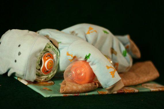 Sleeping Baby Diaper Cake  Ready to Ship by LovelyLeola on Etsy, $60.00