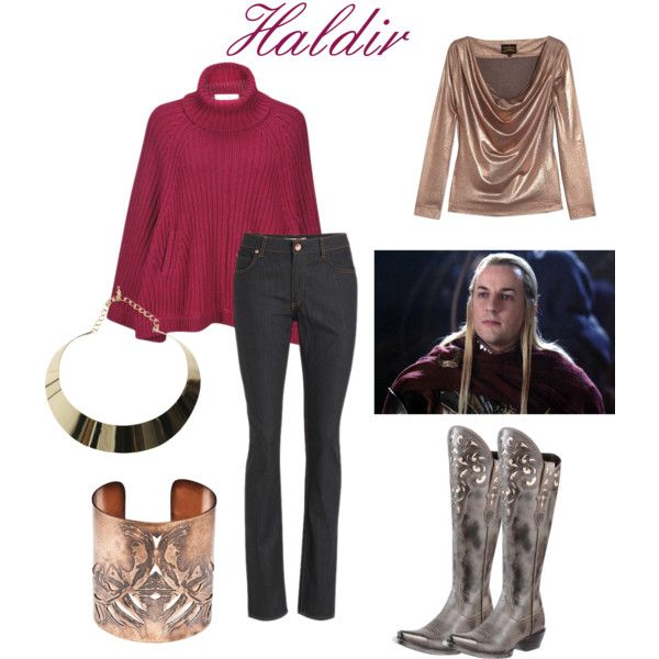 Haldir (Helm's Deep) by rachel-6 on Polyvore featuring Vivienne Westwood Anglomania, Crumpet, Ariat, Becky Dockree Jewellery, Bardot, elves, elf, tolkein, middle earth and lord of the rings