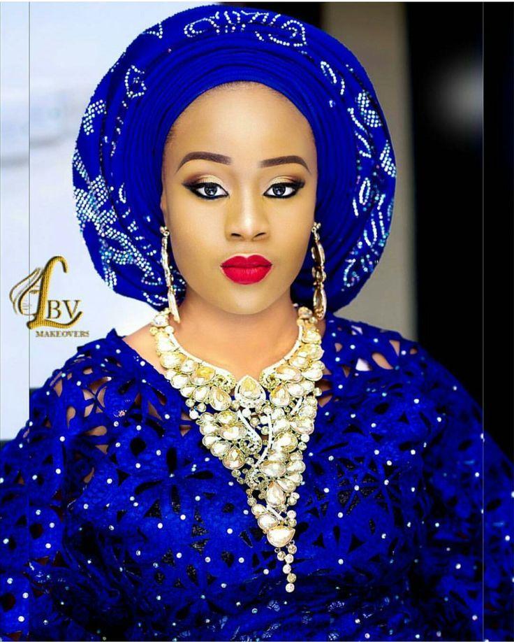 Aso Oke Bride Nigerian Nigeria Wedding Royal Blue Blue