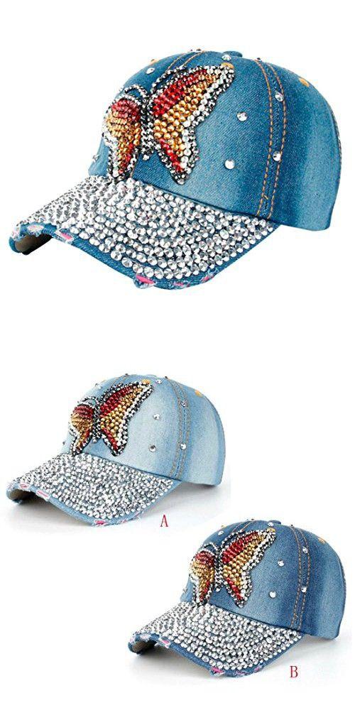 9076992c4d8 Highpot Women Fashion Rhinestone Butterfly Denim Baseball Cap Snapback Hat  (B)