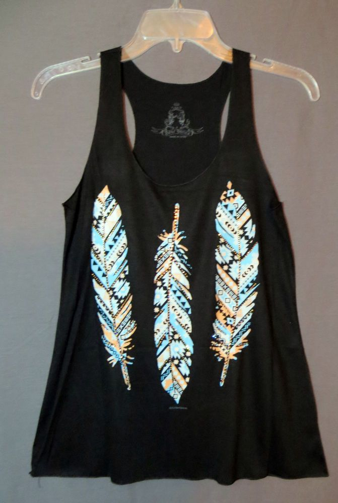 COWGIRL gYPSY FEATHERS AZTEC Rhinestones TRIBAL Tank Top Shirt Western SMALL #BEARDANCE #TANK