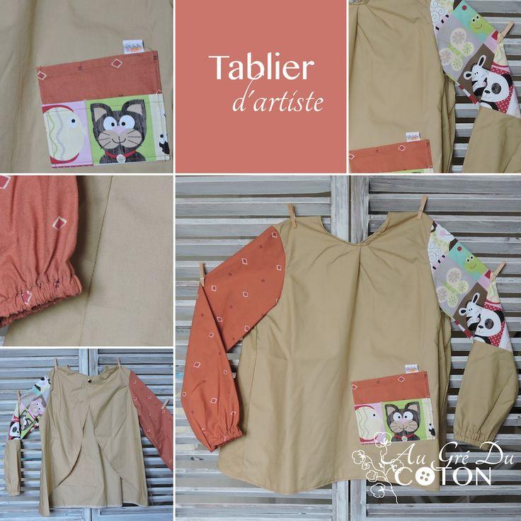 Tablier d'écolier  Taille 5 ans   Patron : Au Gré Du Coton  Composition : Coton Coloris : beige, saumon et animaux enfantins  #cadeaupourkermesse #tablierdartiste