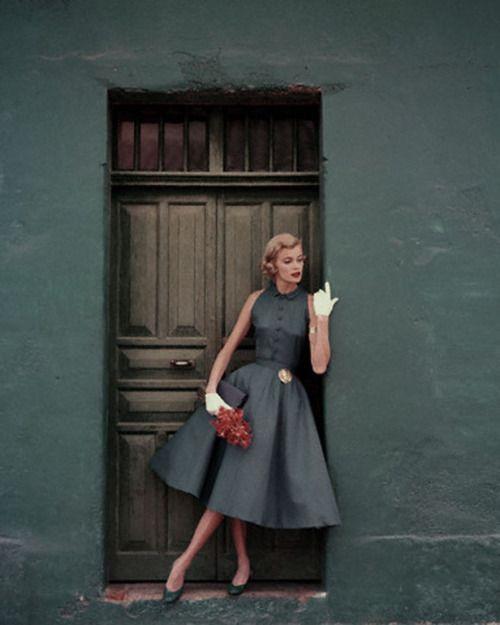 Heatherlane (1955)  Two-piece slate blue dress