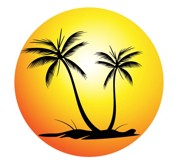 Free Tropical Beach with Palm Trees Vector Image