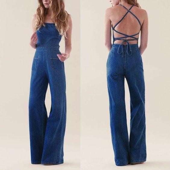 2017 Vintage Backless High Waist Denim Jeans Jumpsuit Wid Leg Playsuit Rompers