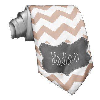 Vintage Chalkboard look; Brown Chevron Pattern Custom Tie