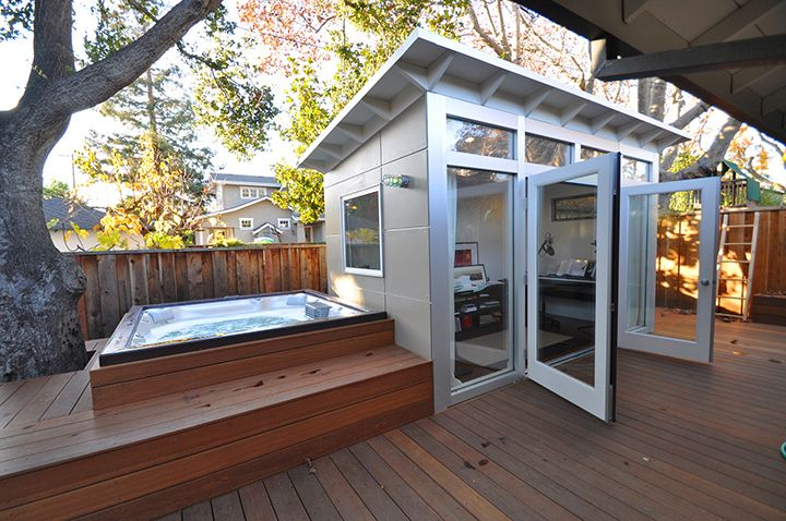The shed that Jennifer and Eric Antonow built near their backyard hot tub provides some extra living space in Palo Alto, Calif.