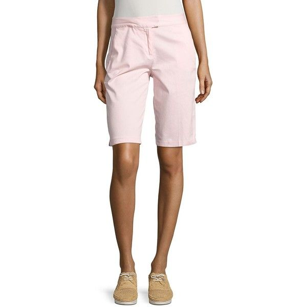 IMNYC Isaac Mizrahi Women's Bermuda Chino Shorts (320 MXN) ❤ liked on Polyvore featuring shorts, light blue, isaac mizrahi, light blue chino shorts, cuffed shorts, bermuda shorts and chino shorts