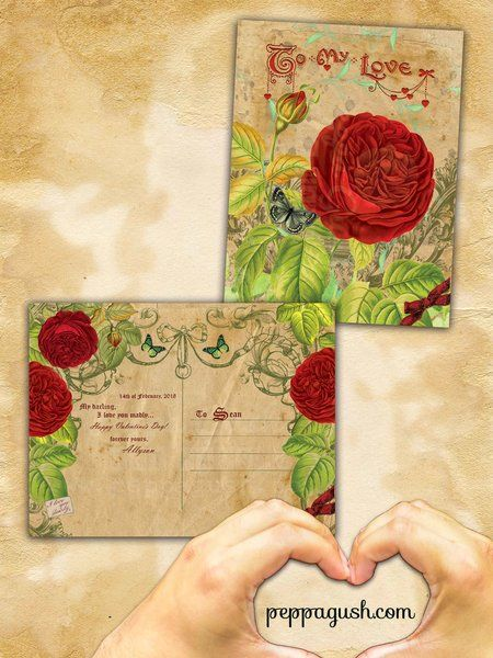 Personalized vintage valentine postcard. 2 sides. Available in Cardstock, Magnet and instant PDF file via email