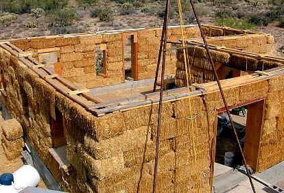 Straw bale house under construction