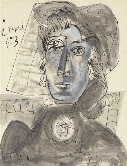 Pablo Picasso, Buste de femme au corsage orné d'une broche, 1943