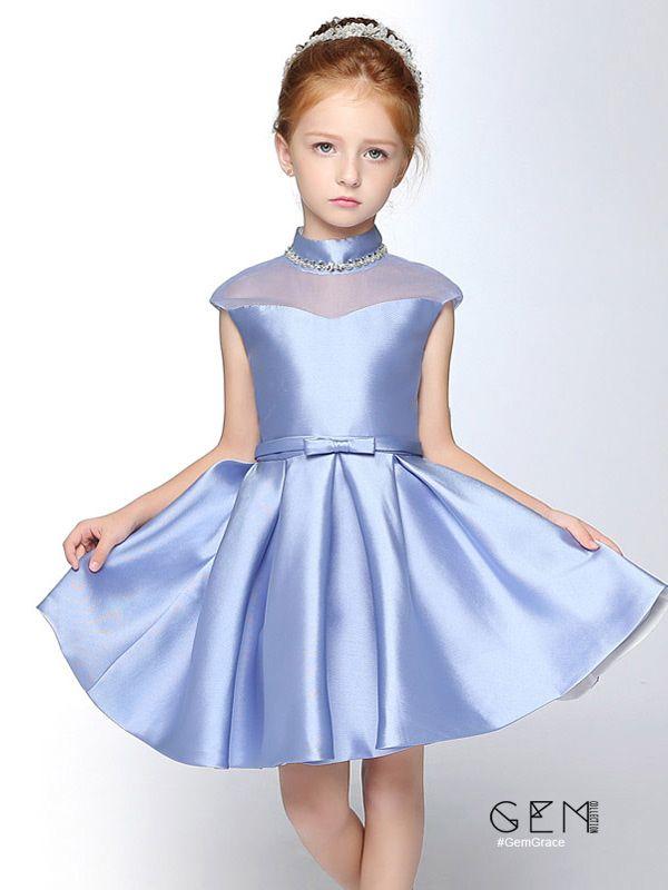 e22ff70d40966 Custom Chic High Neck Satin Flower Girl Dress | Kız Çocuk Elbiseler ...