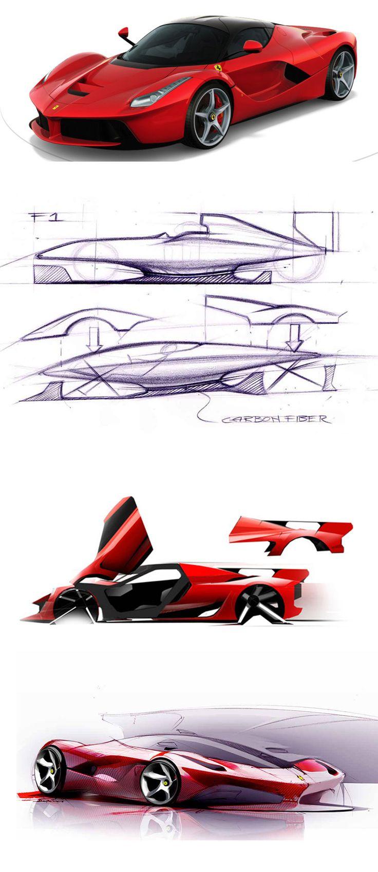 Ferrari - Great supercar design sketches & 3D
