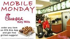 FREE 6-COUNT GRILLED NUGGETS @ Chick-fil-A Katy Mills...  April 17th is Mobile Monday from 10:30am - 10:00pm  FREE 6-Count Grilled Nuggets when you place a Mobile Order on your Chick-fil-A One App (http://cfakm.co/one).  SHARE & LIKE with everyone :)  Offer ONLY valid at Chick-fil-A Katy Mills while supplies last.  #griilednuggets #cfaone #chickfilakatytx #chickfilakaty #cfakatymills #cfakaty #chickfila #katytx  griilednuggets cfaone chickfilakatymills chickfilakaty cfakatymills cfakaty…