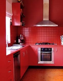 love a red kitchen