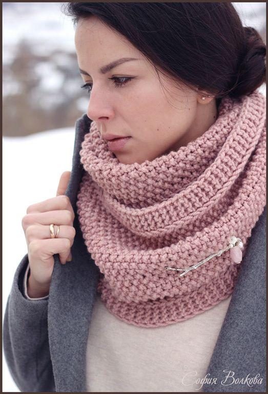 """Купить Комплект """"Иней роз"""" - пыльная роза, нежность, нежно-розовый, шарф, женский шарф"""