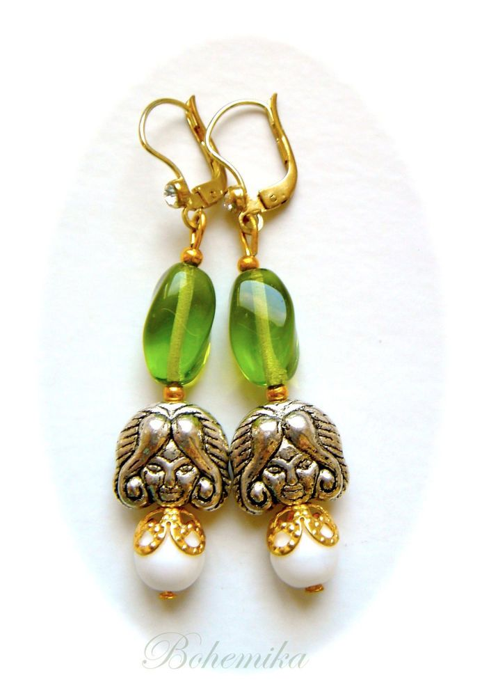 Vintage Art Nouveau Earrings Czech Glass Woman Lady Fairy Green Gold Silver