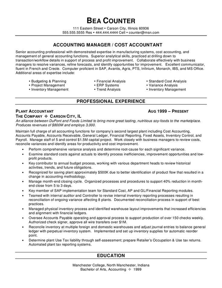 65 best Resume and Interview images on Pinterest Resume tips - sample resume for accounting manager