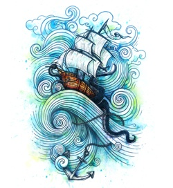 Ship tattoo sketch. I can't wait till I get this as a